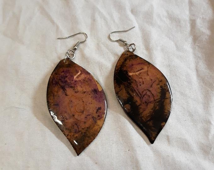 Unique vintage BOHO Gypsy Bohemian dangle drop pierced earrings, leather leaf dangle earrings, dangles