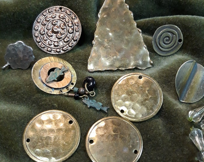 Vintage Tribal jewelry components, tribal junk jewelry, earring singles connectors lot