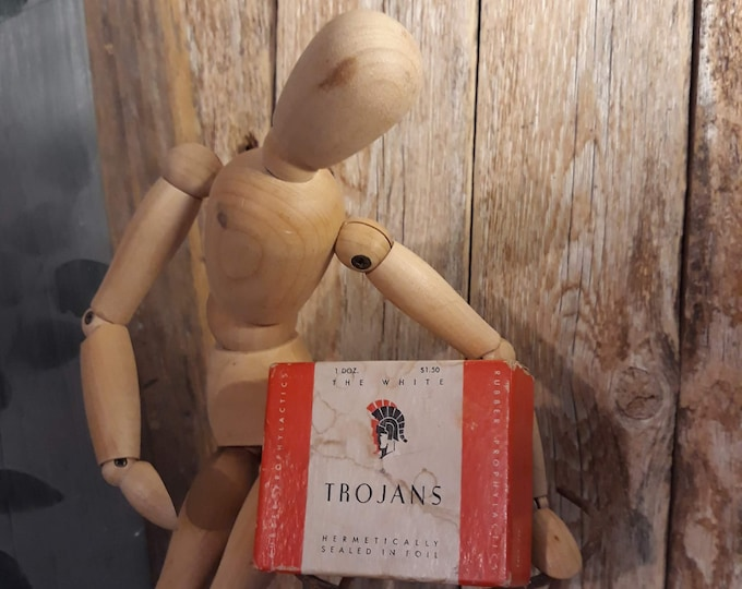 vintage Trogans prophylactics empty box collectible advertising ephemera rubber