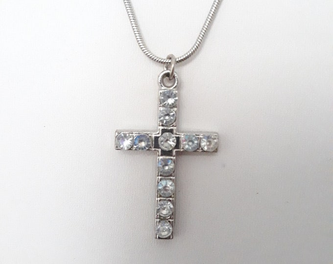Rhinestone cross One of a kind handmade unique necklace affordable