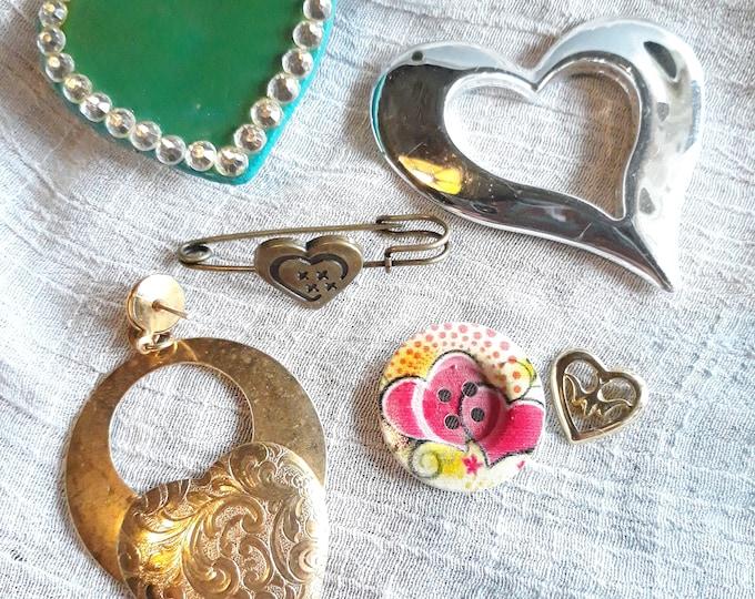 VINTAGE Mixed media heart craft jewelry lot, junk jewelry heart lot, craft supply lot