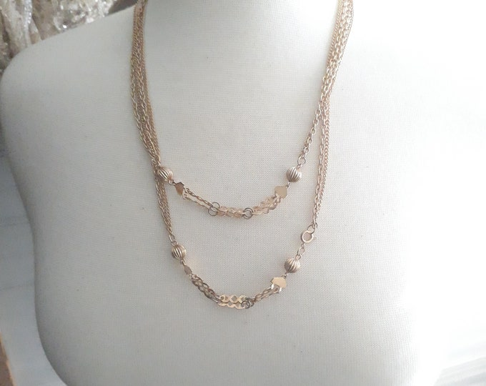 Estate Vintage Hippie  chain necklace with beads and connectors