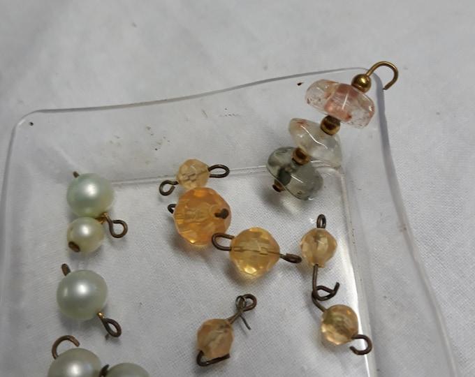 Bead dangles, rosary bead dangles, rosary links, glass bead dangle, plastic bead dangle, pearl dangles, dangle bead lot