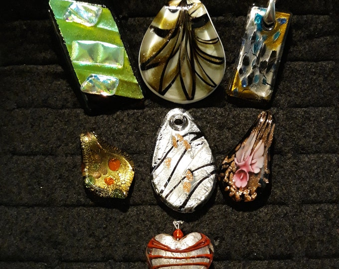 Gorgeous DICHROIC glass pendant lot, Dichroic glass lot, Glass pendant, Jewelry supply