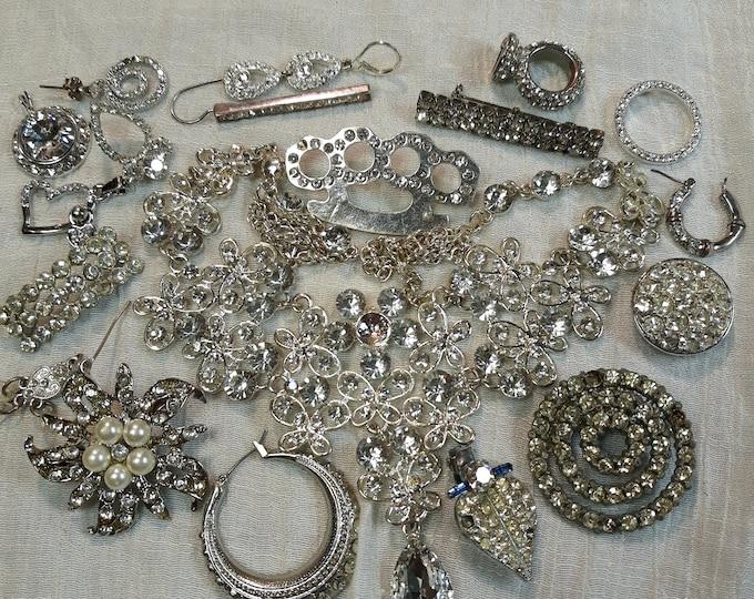 Brilliant Vintage rhinestone craft jewelry with bib necklace, Vintage mixed jewelry lot, Vintage repurpose jewelry, salvaged jewelry lot