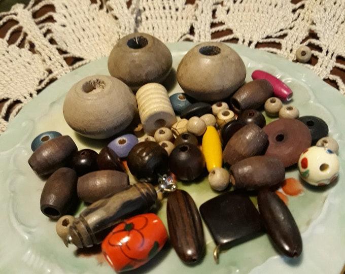 Salvaged Vintage wooden bead lot +