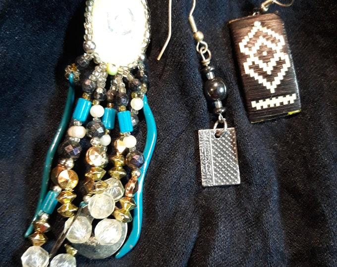 Reserved for Shea Lot of Boho single odd earrings, Bohemian dangle drop earrings, Gypsy jewelry, art and crafts supply, embellishments