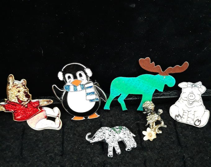 Vintage critter brooch lot, crafting jewelry, repair and wear or repurpose