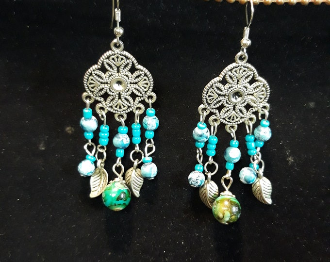 Unique vintage BOHO Gypsy Bohemian dangle drop pierced earrings