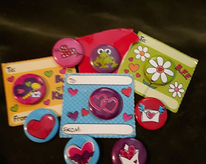 Valentine's Day pin back buttons with cards