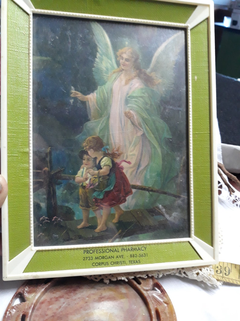 Vintage 1940s Lithograph Art Print Guardian Angel with Little Girl