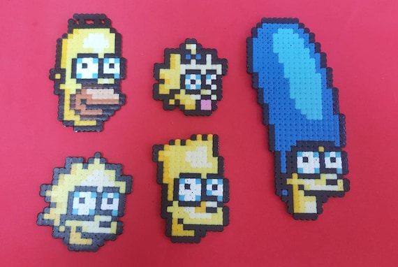Sprite Of The Simpson Family Homer Marge Bart Lisa Maggie Hama Beads Pearls Hama Pixel Art