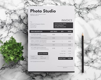 Word Invoice Template Clean Invoice Stylish Invoice Etsy