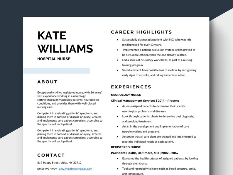 Nurse CV Template Medical Resume Health