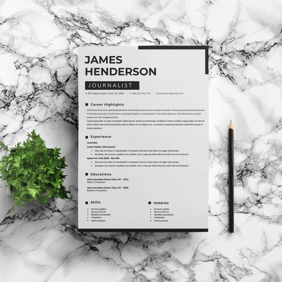 Journalist Resume Template TV Resume Template News Resume Etsy