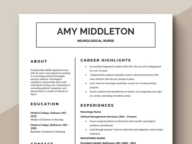 Nurse Resume Template | Simple Medical Resume | Healthcare Resume |  Hospital Resume | Minimal Resume Template | Doctor Resume | Nurse CV