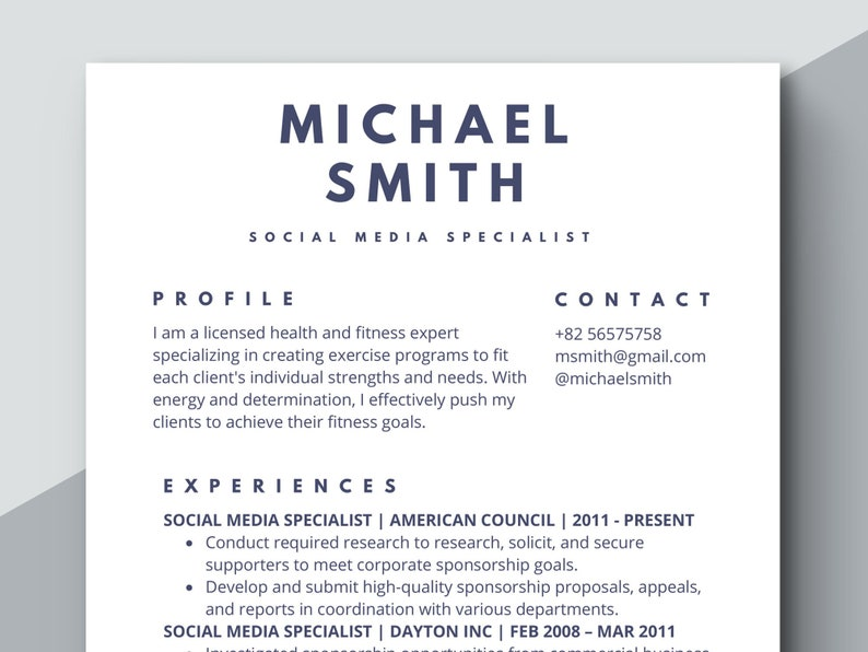 Simple Resume Template Classic Formal