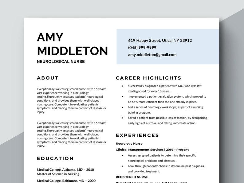 Nurse Resume Design Medical Template Simple