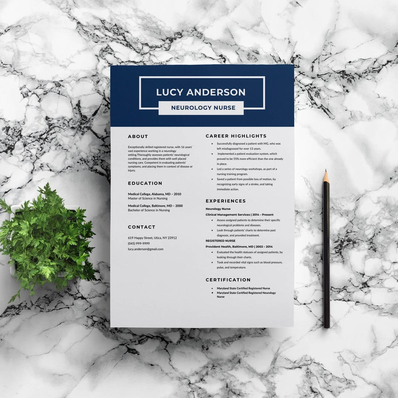 Nurse Resume Template | Medical Resume | Healthcare Resume | Hospital  Resume | Professional Resume Template | Editable Resume