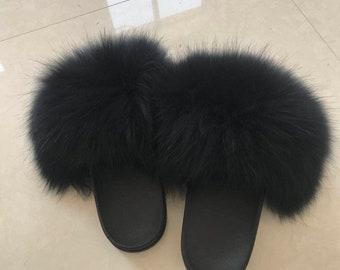 79eecf0fb34 Black Fox Fur Slides