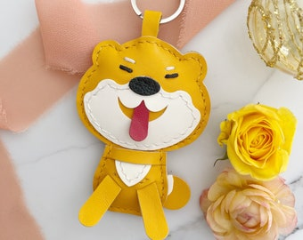 Shiba Inu Genuine Leather Cowhide Bag Charm Perfect Gift for Dog Lover *