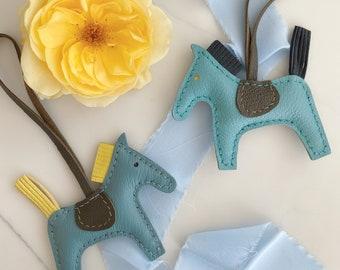 Handmade leather horse bag charm   leather horse key chain