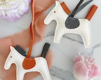Handmade leather horse bag charm | leather horse key chain | lambskin horse bag charm