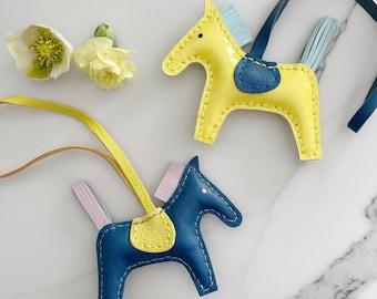 Handmade soft lambskin horse bag charm | leather horse key chain | lambskin horse bag charm