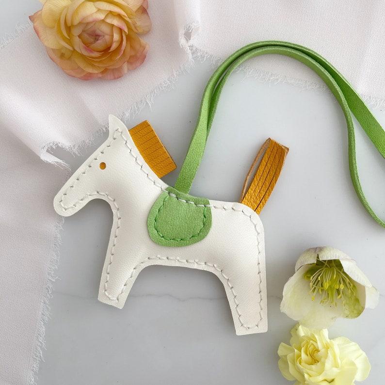 lambskin horse bag charm leather horse key chain Handmade soft lambskin horse bag charm