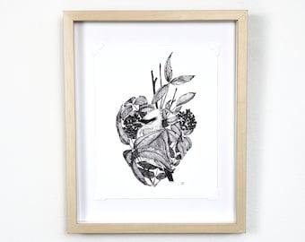 Anatomy art, songbird human heart, wildlife print, cottagecore decor, eclectic wall art | Flora and Fauna Collection #2