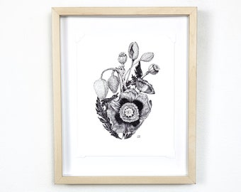 Anatomical heart print with poppies, gallery wall art, maximalist decor, cottagecore art | Flora and Fauna Collection #2