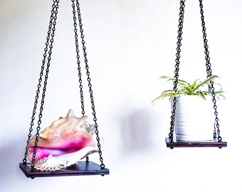 "Plant Holder Wooden Hanging Planter Swing Shelf Dark Brown Finish Black Chain Urban Jungle | 6' x 6"" or 8"" x 8"""