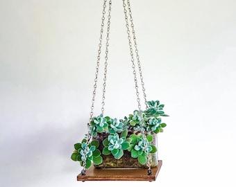 Maximalist decor, hanging planter, fake plants display, hanging plant shelf, wall planter | medium brown wood finish & silver chain