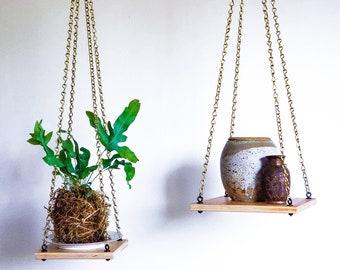 "Plant Hanger Wood Platform Rustic Modern Shelf Indoor Planter Natural Finish Brass Chain Boho Décor Urban Jungle | 6' x 6"" or 8"" x 8"""