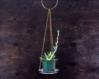 """Large Brass Gold Chain Plant Holder Metal Hanging Planter Modern Boho Style Urban Jungle Gift 