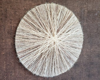 """Large Neutral Boho Wall Hanging Modern Woven Textile Tapestry Fiber Hoop Art OOAK Eclectic Coastal Two-Sided Yarn Wall Décor 
