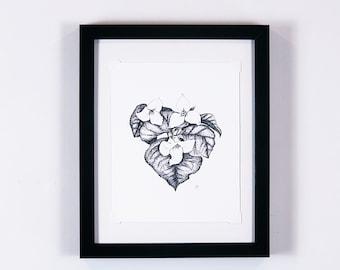 Trillium flower botanical print, heart anatomy, nature decor, vintage wall art | Flora and Fauna Collection #2