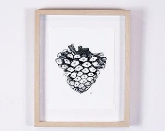 Anatomical heart pinecone print, gallery wall art, maximalist decor, cottagecore art | Northwest Woodland Collection