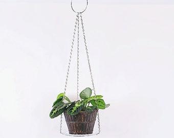 "Silver Chain Plant Holder Metal Hanging Planter Modern Indoor Urban Jungle Macrame Alternative Gift | 3"" and 7"" Hoop Circle"