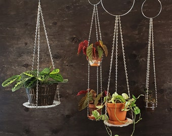 """Double window planter, silver hanging wall planter, chain macrame plant hanger, mid-century planter 