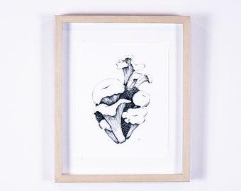 Chanterelle mushroom illustration, anatomical heart print, maximalist decor, cottagecore art | Northwest Woodland Collection