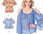 Sewing Pattern Loose Fit Top Pattern, Cold Shoulder Blouse Pattern, Loose Fit Pullover Tunic Top Pattern, McCall 39 s Sewing Pattern 7412