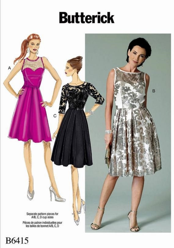 Sewing Pattern for Women's Evening Dress Pattern, Misses' Formal Dress Pattern, Classic Dress Pattern, Butterick Sewing Pattern 6415