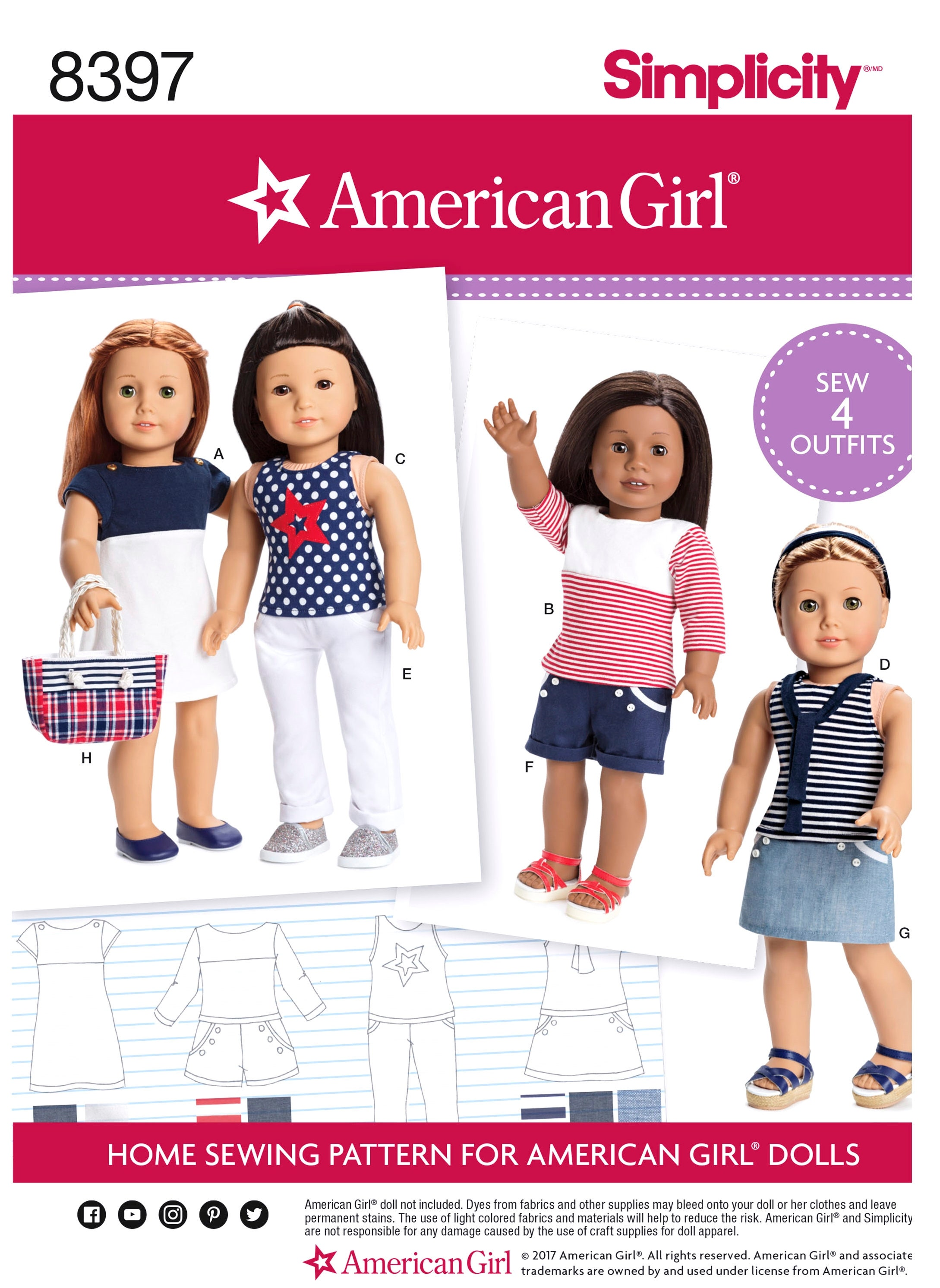 American Girl Doll Clothes Pattern 18 Inch Ag Doll Clothes Etsy