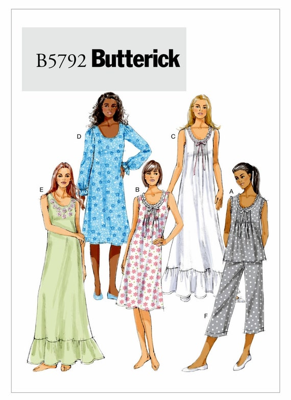Butterick 6225 Pajamas Front-Tuck Tops Gown Shorts Pants Loungewear Sewing