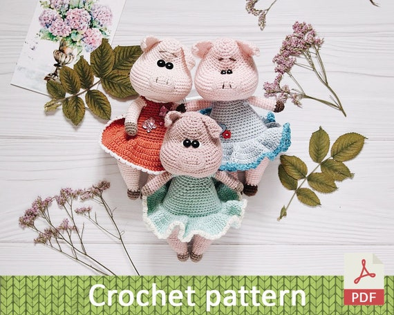 Crocheted Piglet How to Crochet Pattern Tutorial - Club Crochet | 456x570
