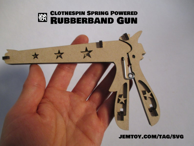 SVG vector file: Rubber Band Gun for Glowforge Laser Cutter image 0