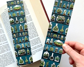 Terrarium Bottles Bookmark/ Terrarium pattern Bookmark/ Double-sided bookmark/ Terrarium workshop