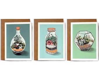 Terrarium Print Blank Cards Set of 3