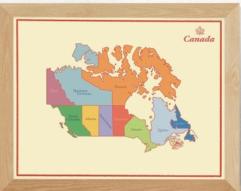 """Canada Map Poster Wall Art for Cottage or Canadian Office Decor.  16 x 20 """" Map of Canada Artwork. Use as Travel Pin Map or Canadiana Decor"""